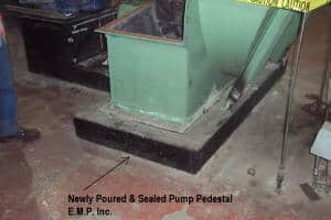 Newly poured and sealed pump pedestal
